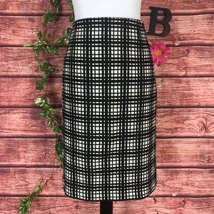 Dalia Collection Skirt 10 Black White Plaid Wool